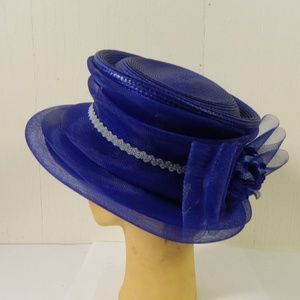Royal Blue Straw & Tulle Hat